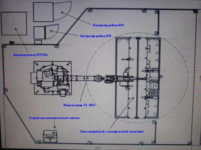 Контролер робота D42 Контролер робота D42 Водоохладитель HYFRA Манипулятор ZX 165 U Устройство автоматической заточки Стол поворотный с универсальной оснасткой