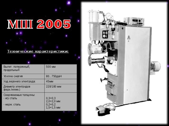 Технические характеристики:  Вылет: поперечный, продольный   Усилие сжатия  500 мм Ход верхнего электрода:  80...750даН 45мм Диаметр электродов (верх./нижн.)   Свариваемые толщины: - н/у сталь  - нерж. сталь   220/180 мм 0,3+0,3 2,0+2,0 мм 0,2+0,2 1,5+1,5 мм