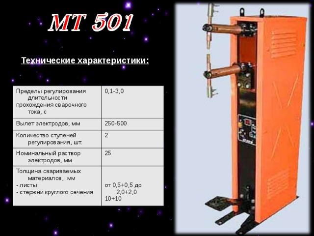 Технические характеристики: Пределы регулирования длительности прохождения сварочного тока, с 0,1-3,0 Вылет электродов, мм 250-500 Количество ступеней регулирования, шт. 2 Номинальный раствор электродов, мм 25 Толщина свариваемых материалов, мм - листы - стержни круглого сечения от 0,5+0,5 до 2,0+2,0 10+10