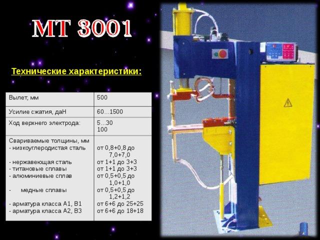 Технические характеристики: Вылет, мм  500 Усилие сжатия, даН 60...1500 Ход верхнего электрода:  5...30 100 Свариваемые толщины, мм - низкоуглеродистая сталь - нержавеющая сталь - титановые сплавы - алюминиевые сплав медные сплавы  от 0,8+0,8 до 7,0+7,0 от 1+1 до 3+3 от 1+1 до 3+3 от 0,5+0,5 до 1,0+1,0 от 0,5+0,5 до 1,2+1,2 от 6+6 до 25+25 от 6+6 до 18+18 - арматура класса А1, В1 - арматура класса А2, В3