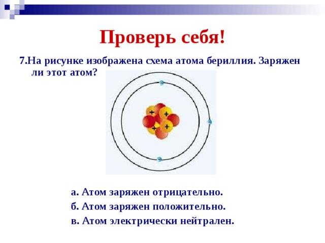 Проверь себя! 7.На рисунке изображена схема атома бериллия. Заряжен ли этот атом?       а. Атом заряжен отрицательно.  б. Атом заряжен положительно.  в. Атом электрически нейтрален.