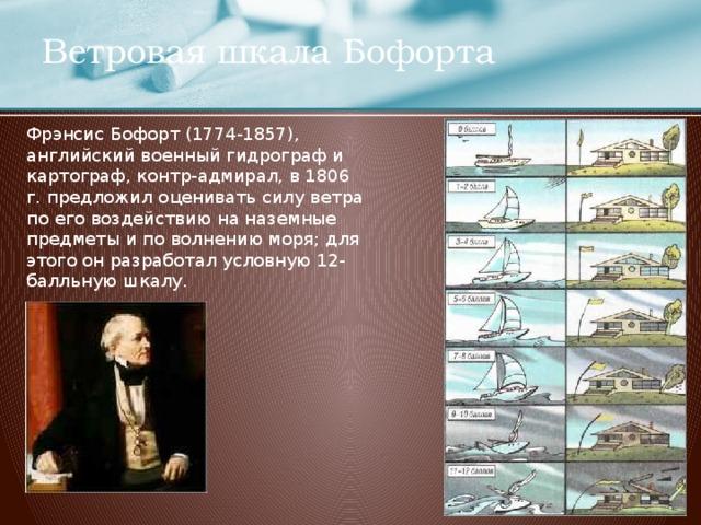 Ветровая шкала Бофорта Фрэнсис Бофорт (1774-1857), английский военный гидрограф и картограф, контр-адмирал, в 1806 г. предложил оценивать силу ветра по его воздействию на наземные предметы и по волнению моря; для этого он разработал условную 12-балльную шкалу.