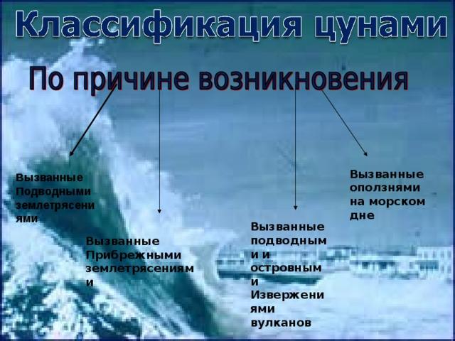 Вызванные оползнями на морском дне Вызванные Подводными землетрясениями Вызванные подводными и островными Извержениями вулканов Вызванные Прибрежными землетрясениями
