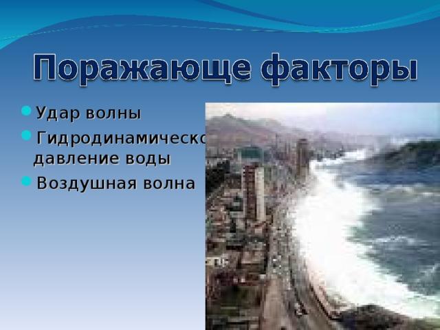 Удар волны Гидродинамическое давление воды Воздушная волна