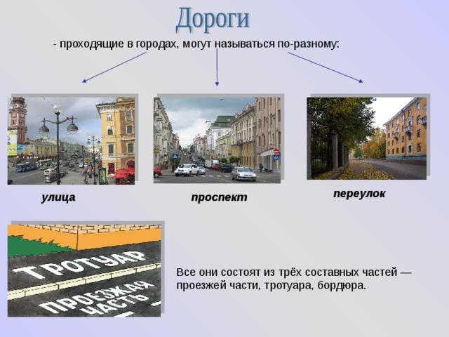 - проходящие в городах, могут называться по-разному: переулок улица проспект Все они состоят из трёх составных частей — проезжей части, тротуара, бордюра.