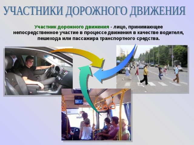 Участник дорожного движения - лицо, принимающее непосредственное участие в процессе движения в качестве водителя, пешехода или пассажира транспортного средства.
