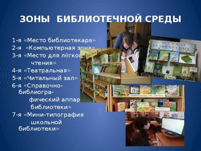 ЗОНЫ БИБЛИОТЕЧНОЙ СРЕДЫ 1-я «Место библиотекаря» 2-я «Компьютерная зона» 3-я «Место для л ё гкого  чтения» 4-я «Театральная» 5-я «Читальный зал» 6-я «Справочно-библиогра-  фический аппарат  библиотеки» 7-я «Мини-типография  школьной библиотеки»