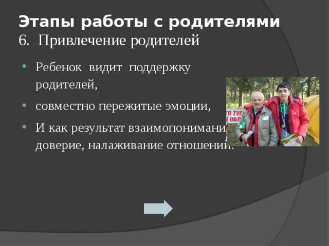 Этапы работы с родителями  6. Привлечение родителей Ребенок видит поддержку родителей, совместно пережитые эмоции, И как результат взаимопонимание, доверие, налаживание отношений. ребенок родитель