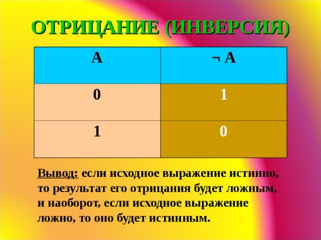 ОТРИЦАНИЕ (ИНВЕРСИЯ) A ¬  А 0 1 1 0 Вывод: если исходное выражение истинно, то результат его отрицания будет ложным, и наоборот, если исходное выражение ложно, то оно будет истинным.