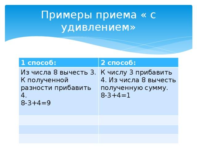 Примеры приема « с удивлением» 1 способ: 2 способ: Из числа 8 вычесть 3. К полученной разности прибавить 4. 8-3+4=9 К числу 3 прибавить 4. Из числа 8 вычесть полученную сумму. 8-3+4=1