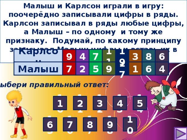 Малыш и Карлсон играли в игру: поочерёдно записывали цифры в ряды. Карлсон записывал в ряды любые цифры, а Малыш – по одному и тому же признаку. Подумай, по какому принципу записывал Малыш цифры и вставь их в таблицу . Карлсон 9 4 7      11 6 8 3 19 6 17 1 9 4  Малыш 5   7 2   ? ? ? ? ? Выбери правильный ответ: 4 5 4 3 2 2 3 4 5 4 2 1 5 3 11 2 12 13 14 1 5 1 10 3 1 6 7 10 8 9 10 6 8 15 9 6 7 8 10 17 16 9 18 7 9 8 10 7 6 19