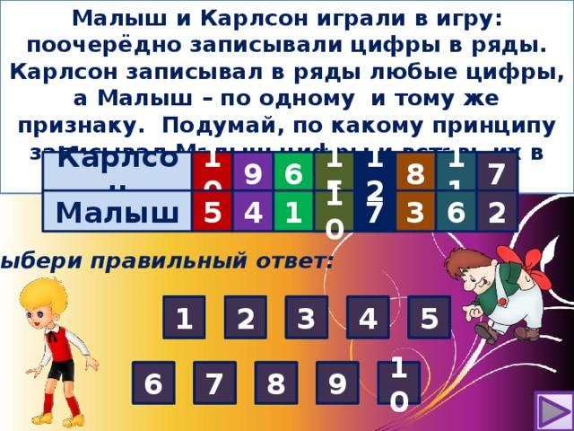 Малыш и Карлсон играли в игру: поочерёдно записывали цифры в ряды. Карлсон записывал в ряды любые цифры, а Малыш – по одному и тому же признаку. Подумай, по какому принципу записывал Малыш цифры и вставь их в таблицу . Карлсон 10 9 6      15 7 11 8 12 6 7 3 10 2  Малыш 1 5  4    ? ? ? ? ? Выбери правильный ответ: 4 5 4 3 2 2 3 5 1 2 4 1 5 1 1 2 4 2 3 4 5 1 5 3 3 10 7 6 8 9 10 6 8 6 10 9 6 7 8 7 8 9 10 7 9 8 10 7 6 9