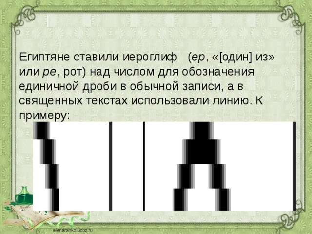Египтяне ставили иероглиф ( ер , «[один] из» или ре , рот) над числом для обозначения единичной дроби в обычной записи, а в священных текстах использовали линию. К примеру: