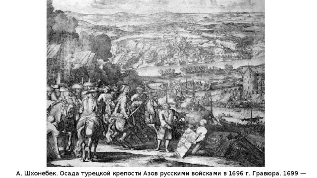 А. Шхонебек. Осада турецкой крепости Азов русскими войсками в 1696 г. Гравюра. 1699 — 1700 гг.