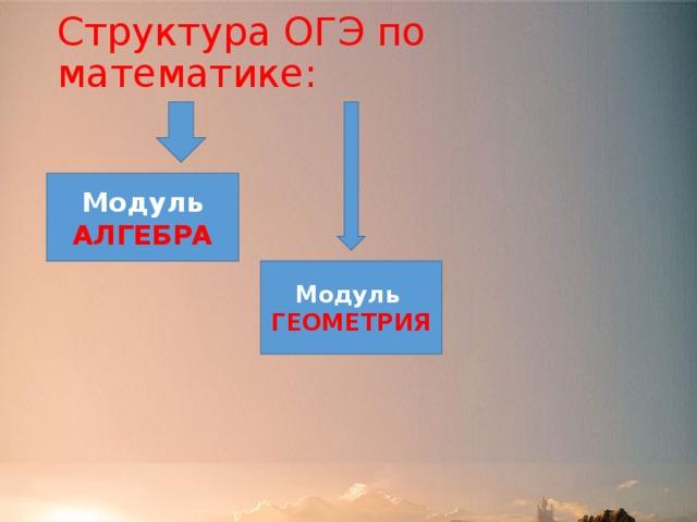 Структура ОГЭ по математике: Модуль АЛГЕБРА Модуль ГЕОМЕТРИЯ