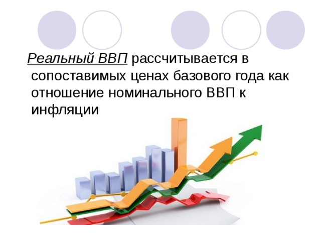 Реальный ВВП рассчитывается в сопоставимых ценах базового года как отношение номинального ВВП к инфляции