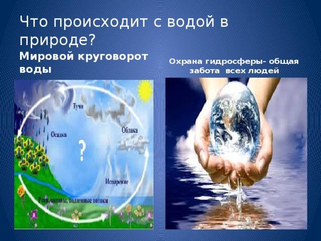 Что происходит с водой в природе? Мировой круговорот воды Охрана гидросферы- общая забота всех людей