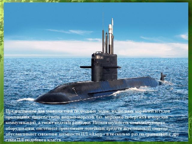 Предназначена для уничтожения подводных лодок, надводных кораблей и судов противника, защиты своих военно-морских баз, морского побережья и морских коммуникаций, а также ведения разведки. Низкая шумность комплектующего оборудования, системное применение новейших средств акустической защиты обуславливают снижение шумности ПЛ «Амур» в несколько раз по сравнению с другими ПЛ подобного класса.