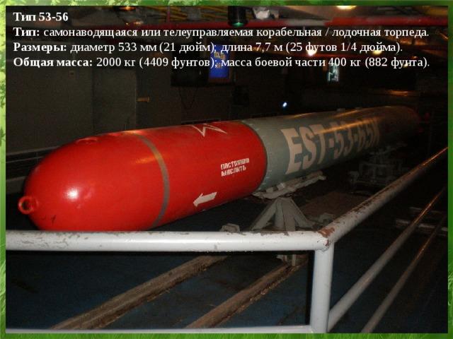 Тип 53-56  Тип: самонаводящаяся или телеуправляемая корабельная / лодочная торпеда.  Размеры: диаметр 533 мм (21 дюйм); длина 7,7 м (25 футов 1/4 дюйма).  Общая масса: 2000 кг (4409 фунтов); масса боевой части 400 кг (882 фунта).