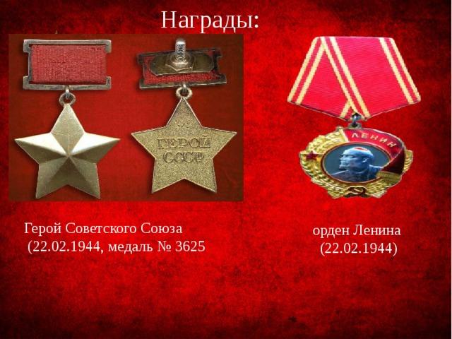 Награды: Герой Советского Союза  (22.02.1944, медаль № 3625 орден Ленина  (22.02.1944)