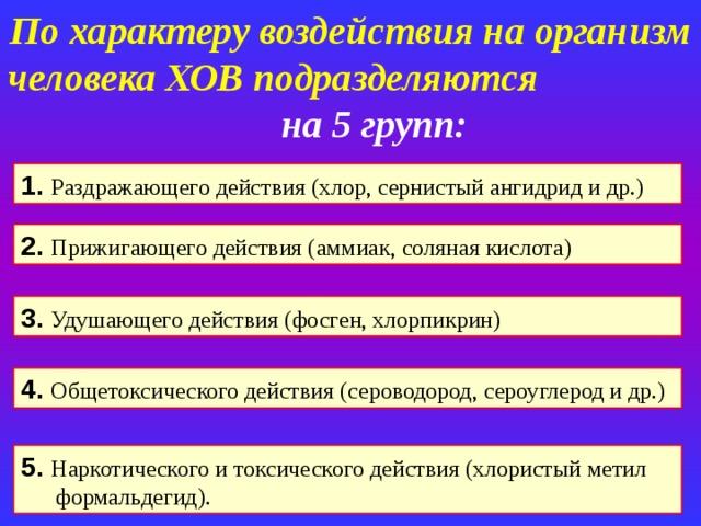 По характеру воздействия на организм человека ХОВ подразделяются на 5 групп: 1. Раздражающего действия (хлор, сернистый ангидрид и др.) 2. Прижигающего действия (аммиак, соляная кислота) 3. Удушающего действия (фосген, хлорпикрин) 4. Общетоксического действия (сероводород, сероуглерод и др.) 5. Наркотического и токсического действия (хлористый метил формальдегид).