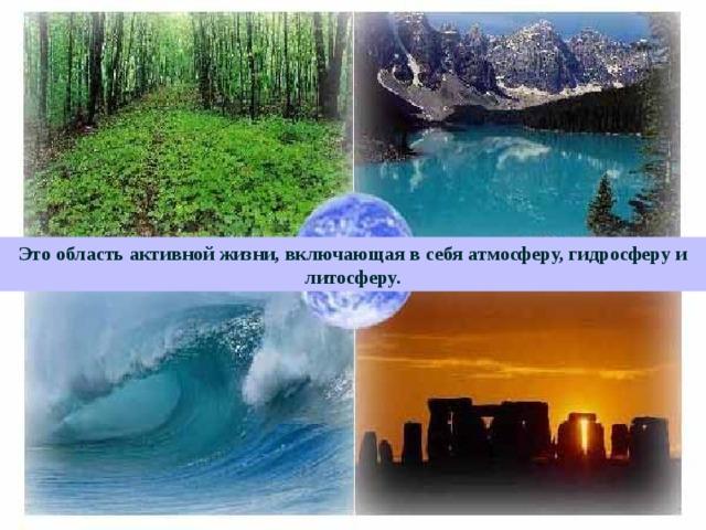 Это область активной жизни, включающая в себя атмосферу, гидросферу и литосферу.