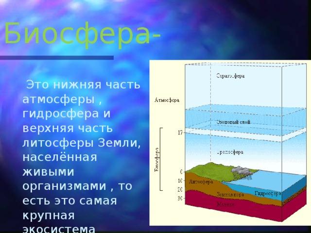 Биосфера-  Это нижняя часть атмосферы , гидросфера и верхняя часть литосферы Земли, населённая живыми организмами , то есть это самая крупная экосистема Земли.