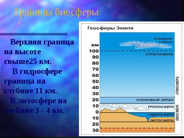 Границы биосферы  Верхняя граница на высоте свыше25 км.  В гидросфере граница на глубине 11 км.  В литосфере на глубине 3 - 4 км.