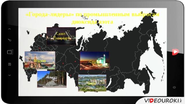 «Города-лидеры» по промышленным выбросам диоксида азота Санкт- Петербург Москва Сургут Омск