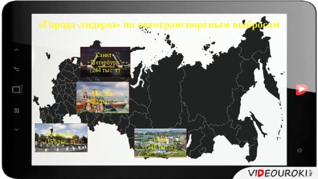 «Города-лидеры» по автотранспортным выбросам Санкт- Петербург (244 тыс. т) Москва (801 тыс. т) Краснодар (150 тыс. т) Омск (148 тыс. т)