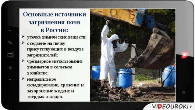 Основные источники загрязнения почв в России: