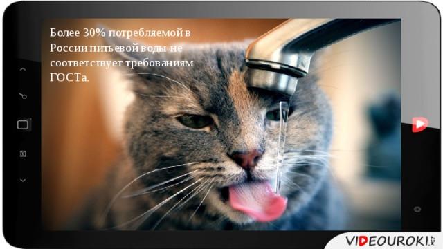 Более 30% потребляемой в России питьевой воды не соответствует требованиям ГОСТа.