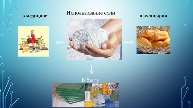 Использование соли в кулинарии в медицине В быту