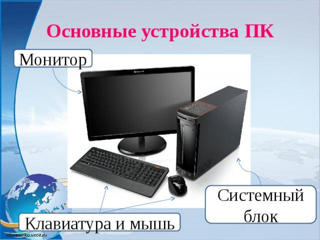 Основные устройства ПК Монитор Системный блок Клавиатура и мышь