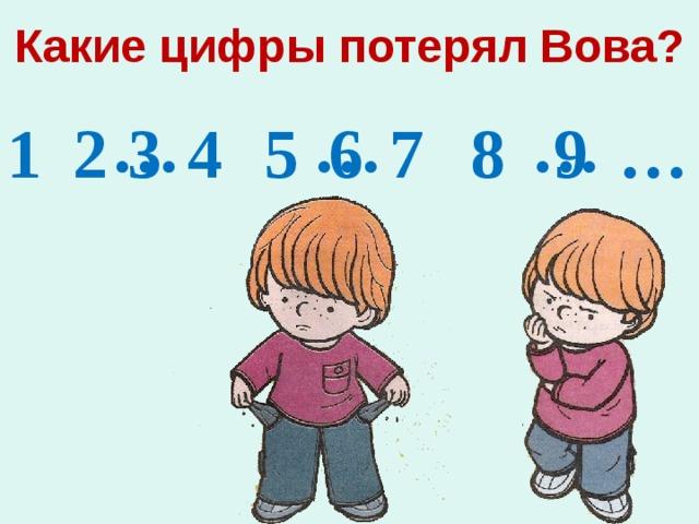 Какие цифры потерял Вова? …  …  …  3 5 6 1 2 4 7 8 9 …