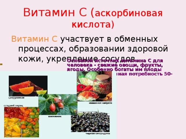 Витамин С ( аскорбиновая кислота) Витамин С участвует в обменных процессах, образовании здоровой кожи, укрепление сосудов. Основной источник витамина C для человека - свежие овощи, фрукты, ягоды. Особенно богаты им плоды шиповника. Суточная потребность 50-100мг.