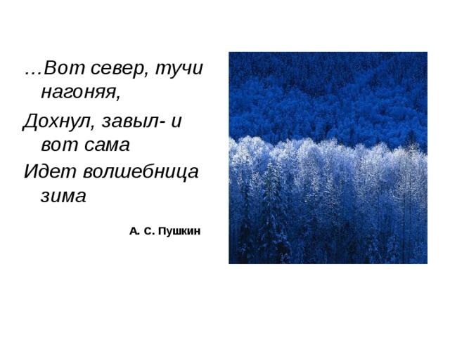 … Вот север, тучи нагоняя, Дохнул, завыл- и вот сама Идет волшебница зима    А. С. Пушкин