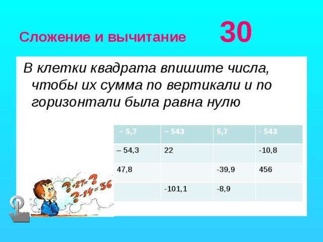 Сложение и вычитание 30  В клетки квадрата впишите числа, чтобы их сумма по вертикали и по горизонтали была равна нулю   – 5,7 – 543 – 54,3 5,7 47,8 22 - 543 -10,8 -39,9 -101,1 456 -8,9