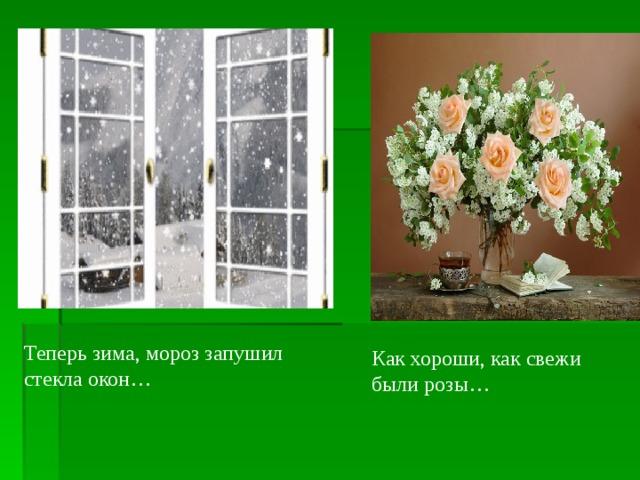Теперь зима, мороз запушил стекла окон… Как хороши, как свежи были розы…