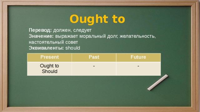 Ought to Перевод: должен, следует Значение: выражает моральный долг, желательность, настоятельный совет Эквиваленты: should Present Ought to Past Future Should - -