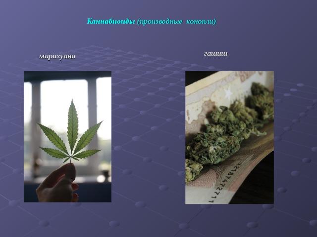 Каннабиоиды (производные конопли)  гашиш марихуана
