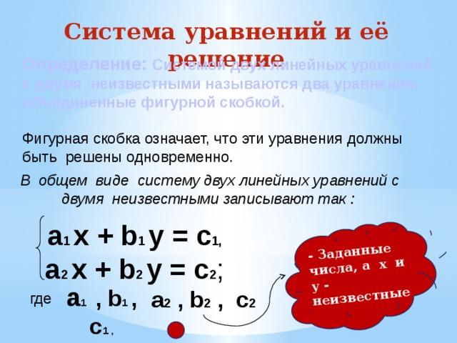 - Заданные числа, а х и у - неизвестные Система уравнений и её решение Определение: Системой двух линейных уравнений с двумя неизвестными называются два уравнения, объединенные фигурной скобкой.  Фигурная скобка означает, что эти уравнения должны быть решены одновременно.  В общем виде систему двух линейных уравнений с двумя неизвестными записывают так : а 1 х + b 1 y = c 1, а 2 х + b 2 y = c 2 ; а 1 , b 1 , c 1 , а 2 , b 2 , c 2 где