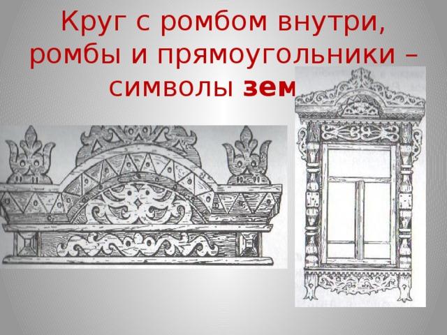 Круг с ромбом внутри, ромбы и прямоугольники – символы земли
