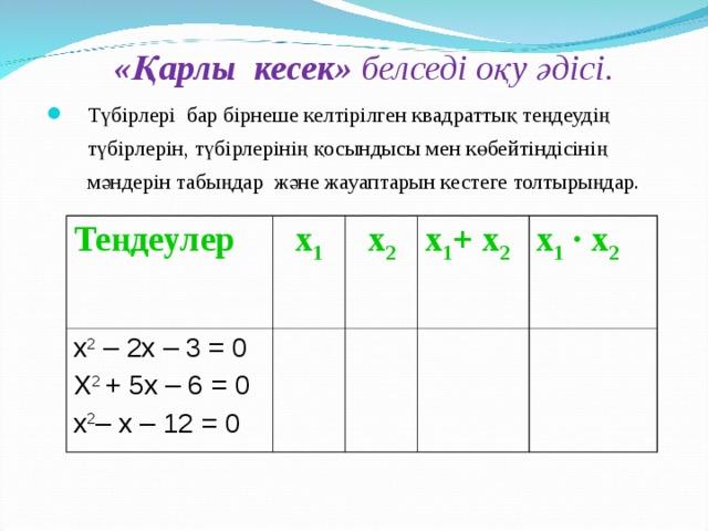 «Қарлы кесек» белседі оқу әдісі. Түбірлері бар бірнеше келтірілген квадраттық теңдеудің түбірлерін, түбірлерінің қосындысы мен көбейтіндісінің мәндерін табыңдар және жауаптарын кестеге толтырыңдар.  Теңдеулер х 1 х 2 – 2х – 3 = 0 Х 2 + 5х – 6 = 0 х 2 – х – 12 = 0 х 2 х 1 + х 2 х 1  · х 2