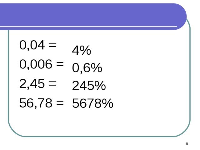 0,04 =  0,006 =  2,45 =  56,78 = 4% 0,6% 245% 5678%