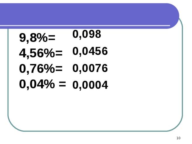 0,098 0,0456 0,0076 0,0004  9,8%=  4,56%=  0,76%=  0,04% =