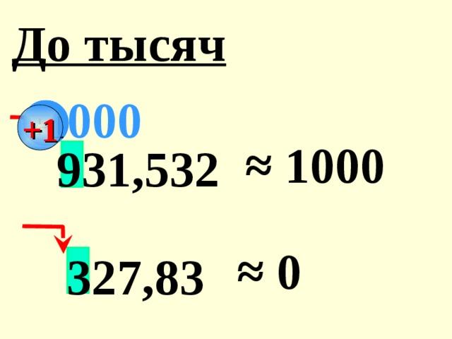 До тысяч 000 +1 ≈ 1000 931,532 ≈ 0 327,83