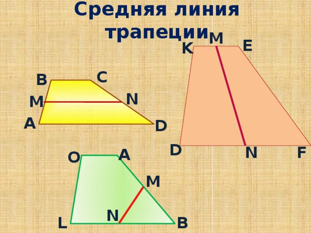 Средняя линия трапеции M E K С В N M А D D F N А O M N B L