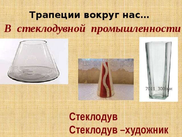 Трапеции вокруг нас… В стеклодувной промышленности Стеклодув Стеклодув –художник