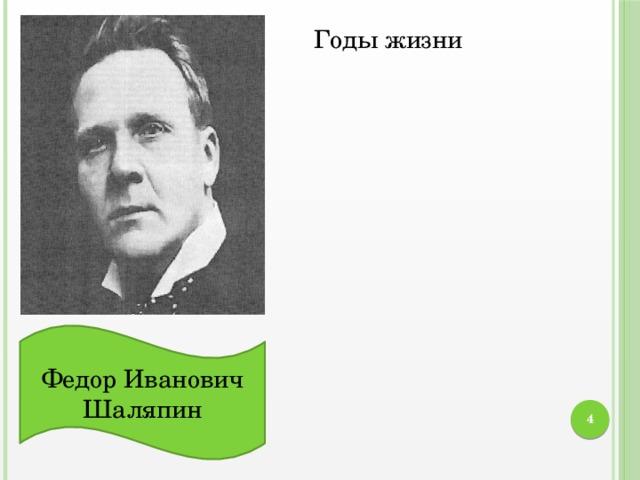 Годы жизни Федор Иванович Шаляпин  Вокальные данные Созданные им образы
